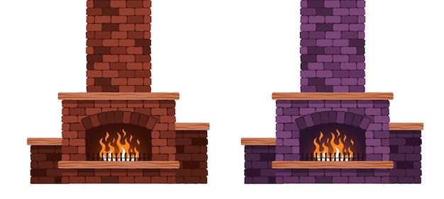 Горящий камин изолирован. каменный дымоход. векторные иллюстрации шаржа.