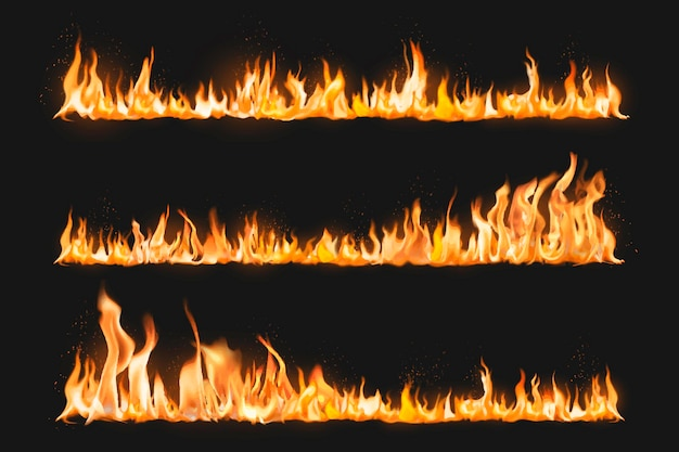 Burning flame border sticker, realistic fire image vector collection