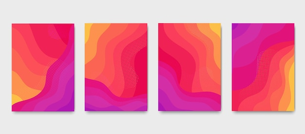 Брошюры с волнистым градиентом горящего пламени. набор абстрактных красочных жидких современных плакатов.