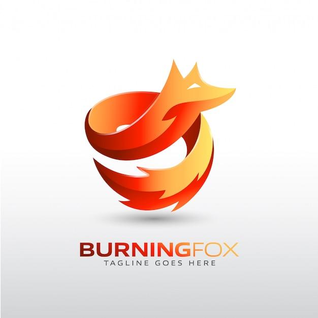 회사 브랜드를위한 불타는 여우 로고 템플릿