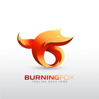 Burning fox logo template for your company brand