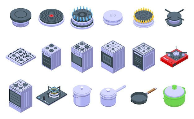 Набор иконок горящей газовой плиты. изометрические набор иконок горящей газовой плиты для интернета