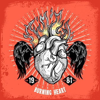 Burning heart tattoo