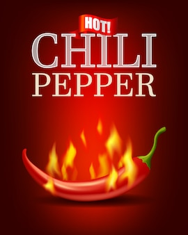 Burning hot chili pepper with flame on red background