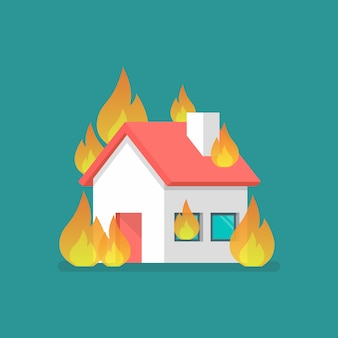 평면 스타일로 불타는 집