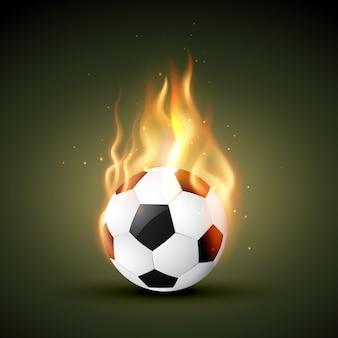 Горящий в огне футбол