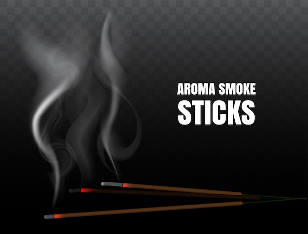Burning indian incense joss sticks with realistic smoke on transparent background. illustration of buddhist praying and fire meditation with aroma incense stick