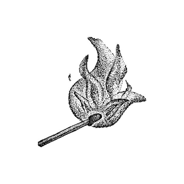 Burning match dotwork vector. handdrawn sketch illustration of tattoo.