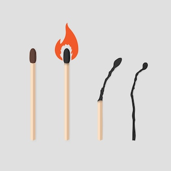 Burning match stages set. matchstick with sulfur, burning and burned.