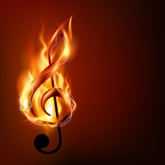 Burning music note