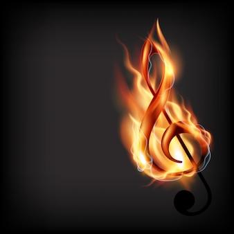 Burning music note