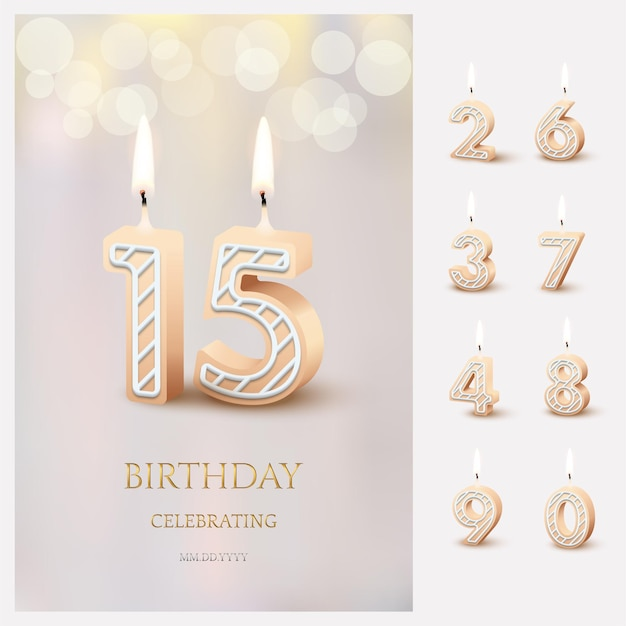 Burning number 15 birthday candles with birthday celebration text on light blurred background and burning birthday candle set for other dates.