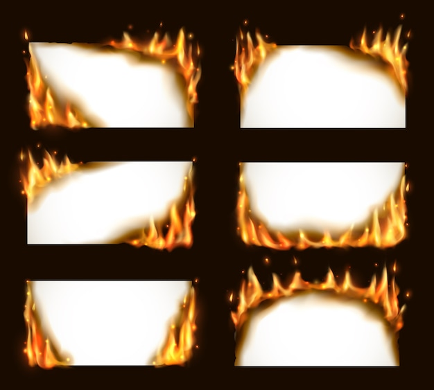 Burning paper banners,  blank pages with fire tongues and sparks. realistic  flaming frames, burning smoldering paper sheets.  white conflagrant cards template for advertising set