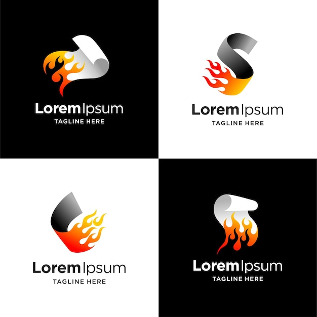Burning paper logo with multiple concept