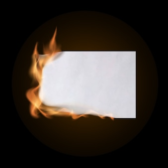Burning piece of crumpled paper. crumpled empty paper blank