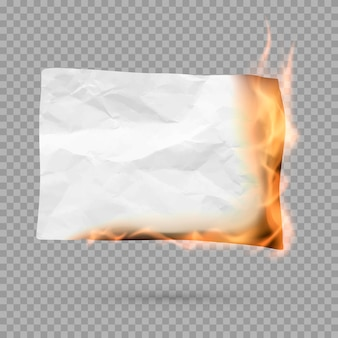 Burning piece of crumpled paper with copy space. crumpled paper blank. creased paper texture in fire.