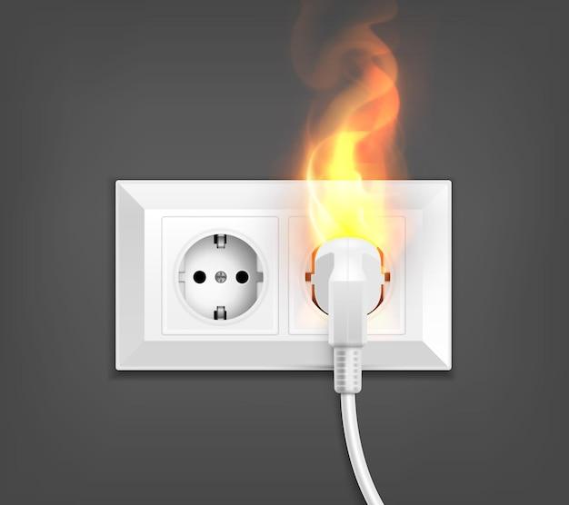 燃える電源ソケットのリアルなイラスト
