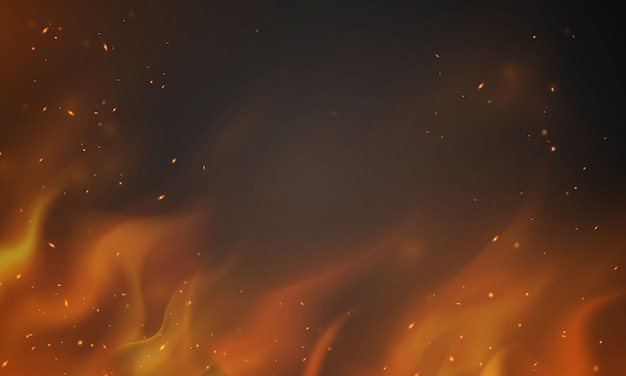 Burning red hot sparks realistic fire flames abstract background