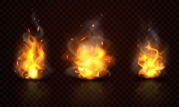 Burning red hot sparks realistic fire flames
