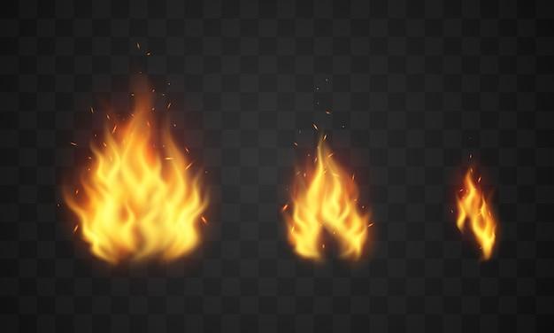 Горящие красные горячие искры реалистичное пламя огня