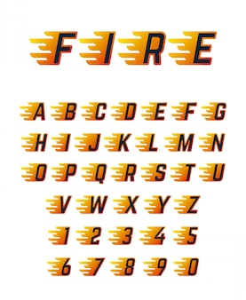 Burning running letters with flame. hot fire vector font alphabet for racing car