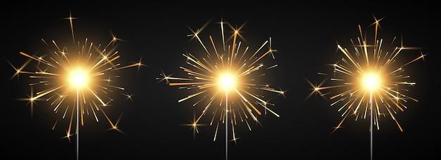Burning shiny sparkler firework