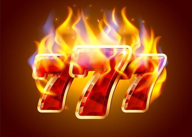 Burning slot machine wins wins the jackpot fire casino concept hot