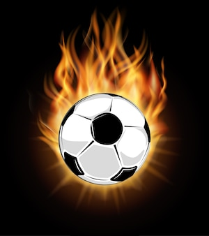 Burning soccer ball isolated over black background