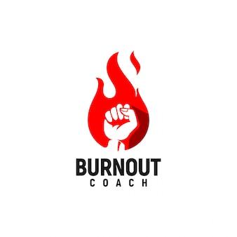Burning spirit with a fist logo inspiration