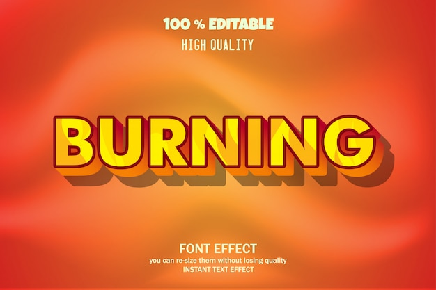 Burning text, editable font effect