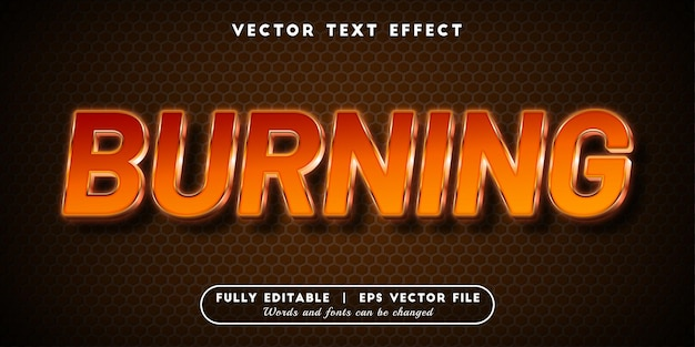 Burning text effect, editable text style