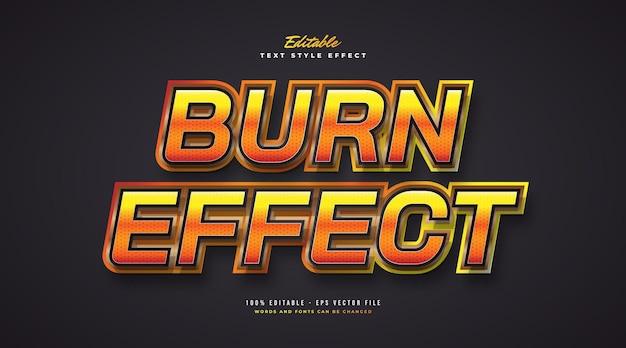Эффект горящего текста с блеском и глянцевым стилем. редактируемый эффект стиля текста