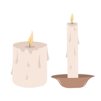 Burning vector vintage candles with drops of melted wax