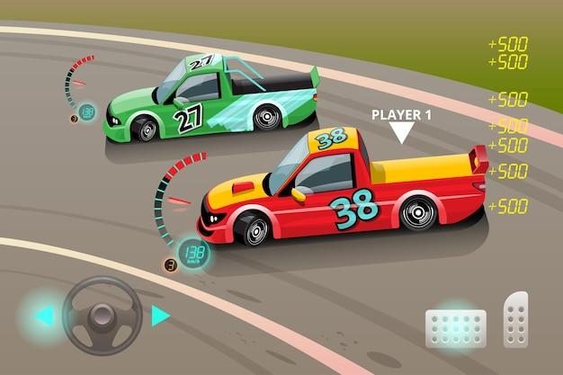 バーンアウトカー、ゲームのポイントのためのゲームスポーツカードリフト、ストリートレーシング、レーシングチーム、ターボチャージャー、チューニング 無料ベクター
