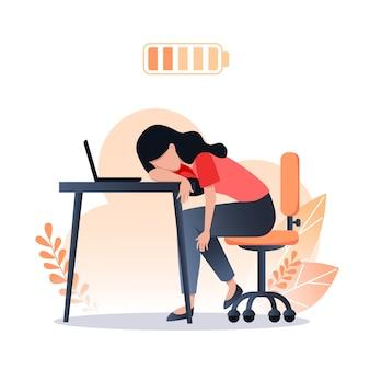 Концепция выгорания, усталая женщина-работник, разряженная батарея, стресс на работе, проблемы с психическим здоровьем