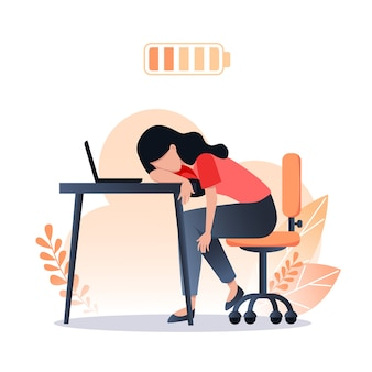 Burnout concept, tired worker woman, discharged battery, stress at work, mental health problems