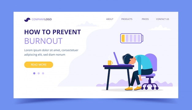 Burnout landing page with upset frustrated man worker, mental health problems.