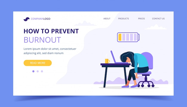 Burnout landing page with upset frustrated woman worker, mental health problems.