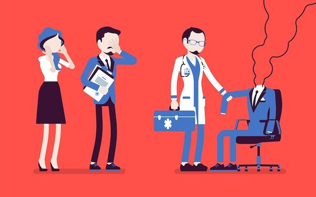 번아웃 회사원과 의사. 직원의 빈 양복, 지친 남자, 직장에서 육체적, 정서적 힘, 동기 부여, 스트레스 및 좌절을 잃었습니다. 벡터 일러스트 레이 션, 얼굴 없는 문자