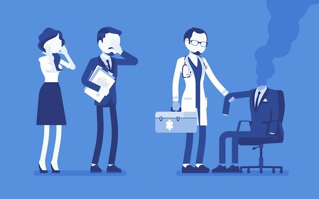 Выгорающий офисный работник и врач. работник в пустом костюме, человек в изнеможении, потерял физическую, эмоциональную силу, мотивацию, стресс и разочарование на рабочем месте.