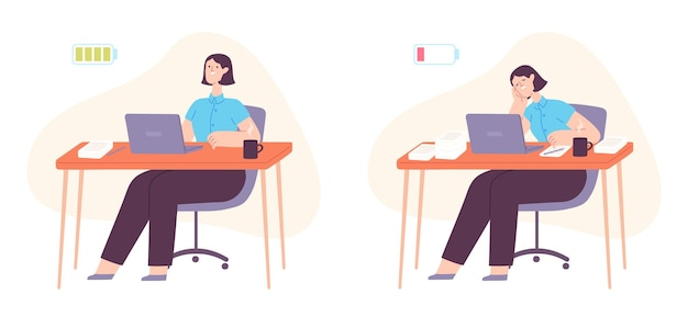 Burnout office worker. exhausted woman working at computer with full and empty battery. mental stress, busy overload employee vector concept. frustrated and positive female worker at desk