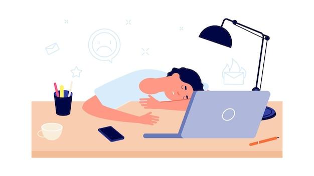 燃え尽き症候群。仕事で疲れ果てて、疲れた男はオフィスの机で寝ます。ストレスや欲求不満、漫画の人の過負荷の概念。労働者の疲労、先延ばしのベクトル図。倦怠感ストレスマン