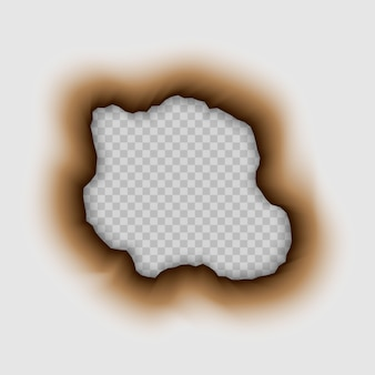 Burnt hole in paper. burn isolated