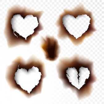 Burnt hole scorched paper shapes love icon symbol vector illustration