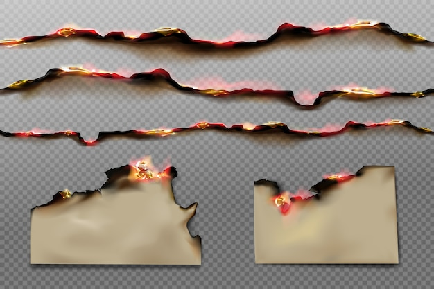 Burnt paper edges and parchment sheets with fire and black ash isolated on transparent background