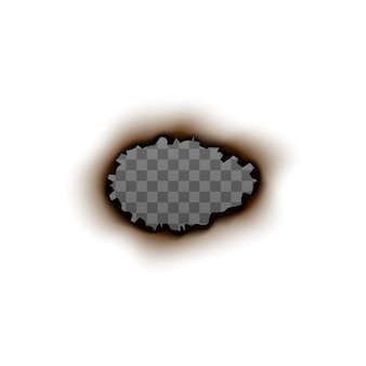 Burnt paper hole with blank transparent inside - realistic frame  on white background. charred oval shape with ripped edges and fire trace -  illustration.