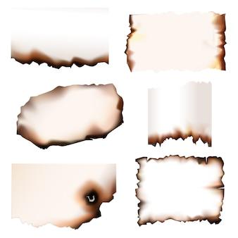 燃えるエッジのある焦げた紙をセットします。焦げた紙の断片が火で焦げ、孤立した現実的なデザイン、古い羊皮紙または引き裂かれた境界線を持つ紙シート