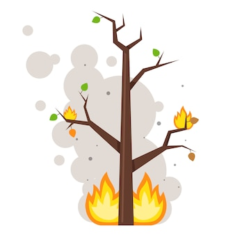 Burnt tree. flame on the branches. clouds of smoke. flat vector illustration