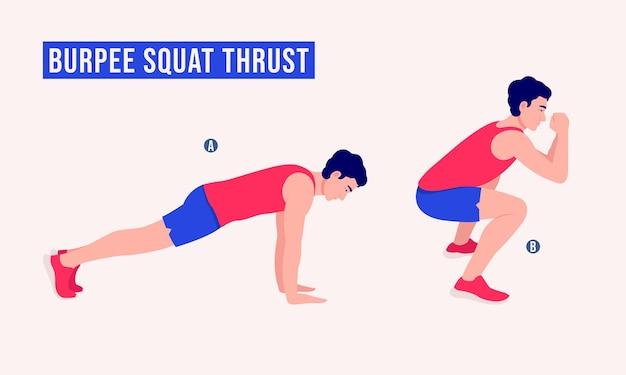 Берпи приседания упражнение на тягу мужчины тренировка фитнес-аэробика и упражнения