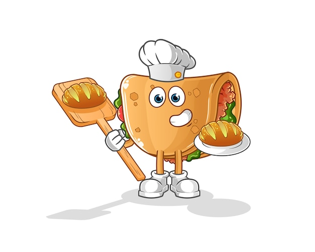 Пекарь буррито с хлебом мультфильм. мультфильм талисман